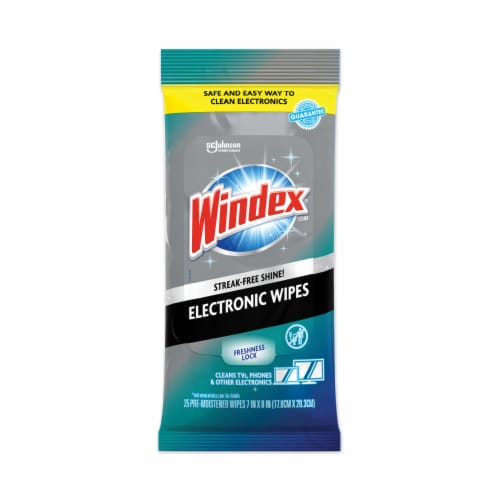 Windex Electronics Cleaner, 25 Wipes 319248EA Perspective: front