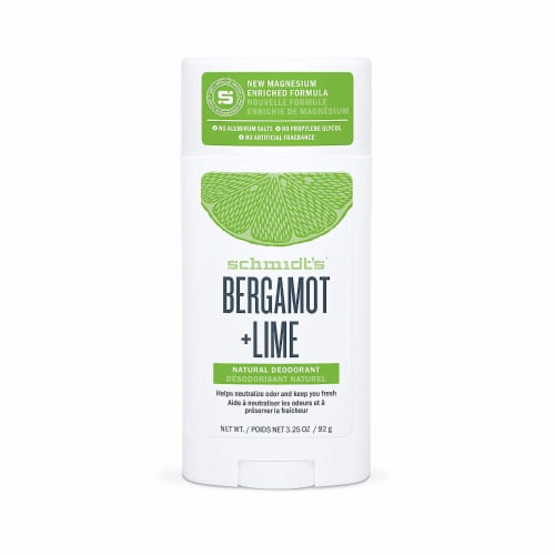 Schmidt's Natural Deodorant, Bergamot + Lime, 3.25 Ounces Perspective: front