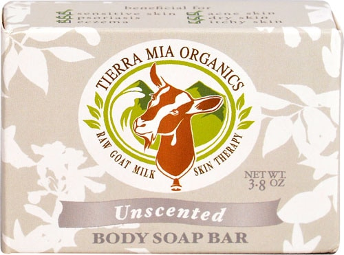 Tierra Mia Organics Raw Goat Milk Skin Therapy Unscented Body Soap Bar Perspective: front