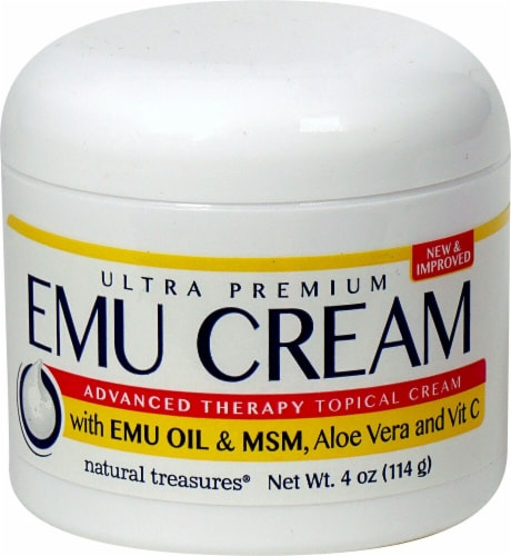 Natural Treasures  Emu Topical Cream with Emu Oil & MSM Aloe Vera and Vitamin C Perspective: front