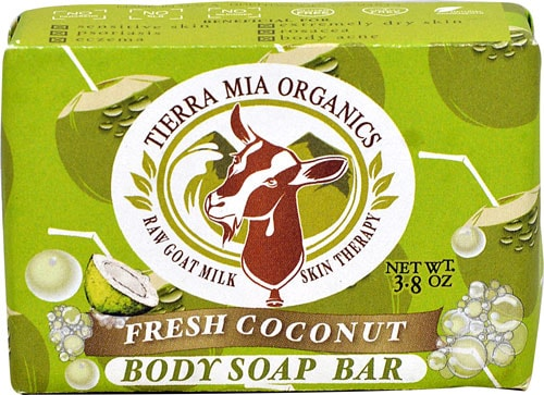 Tierra Mia Organics Raw Goat Mil Skin Therapy Fresh Coconut Body Soap Bar Perspective: front
