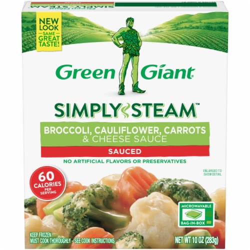 Green Giant Steamers Broccoli Cauliflower Carrots & Cheese Sauce Perspective: front