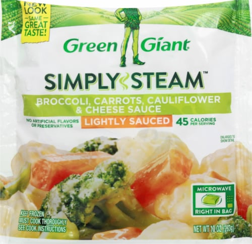 Green Giant Steamers Broccoli Carrots Cauliflower & Cheese Sauce Frozen Vegetables Perspective: front