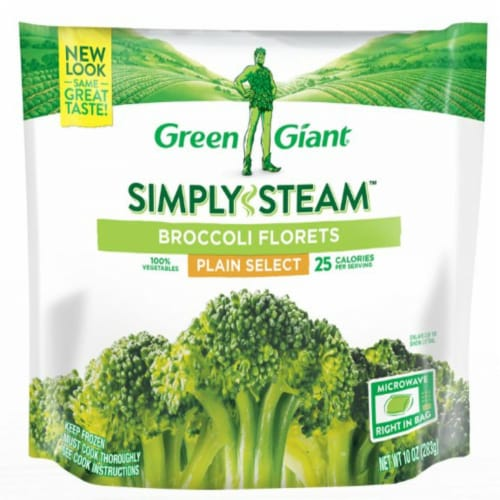 Green Giant Simply Steam Broccoli Florets Frozen Vegetables Perspective: front