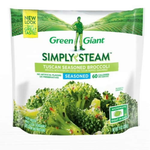 Green Giant Seasoned Steamers Tuscan Broccoli Frozen Vegetables Perspective: front