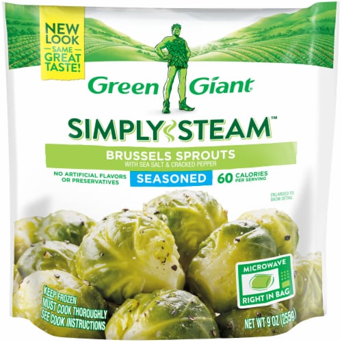 Green Giant Steamer Seasoned Brussels Sprouts Frozen Vegetables Perspective: front