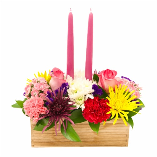 Easter Double Candle Floral Arrangement - Assorted Perspective: front