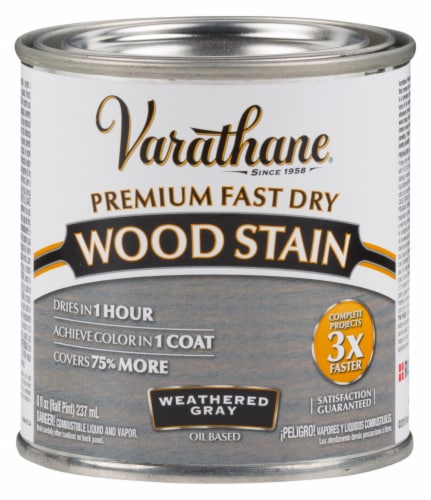 Varathane® Premium Fast Dry Weathered Gray Oil Based Wood Stain Perspective: front