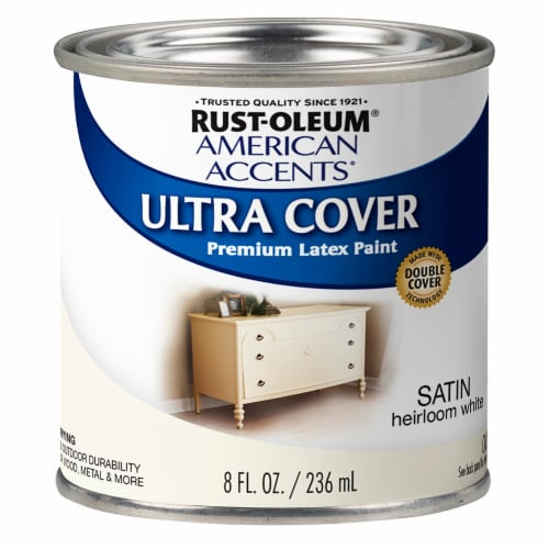 Rust-Oleum American Accents Ultra Cover Satin Premium Latex Paint - Heirloom White Perspective: front
