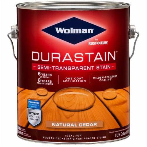 Wolman 288078 Durastain One Coat Semi-Transparent Exterior Wood Stain Natural Cedar gal Perspective: front