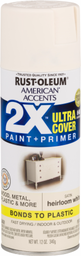 Rust-Oleum American Accents 2X Ultra Cover Satin Spray Paint - Heirloom White Perspective: front