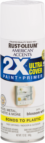 Rust-Oleum American Accents 2X Ultra Cover Satin Spray Paint - Blossom White Perspective: front