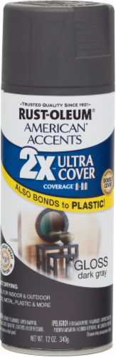 Rust-Oleum American Accents 2X Ultra Cover Gloss Spray Paint - Dark Gray Perspective: front