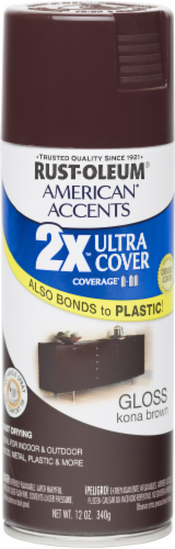 Rust-Oleum American Accents 2X Ultra Cover Gloss Spray Paint - Kona Brown Perspective: front