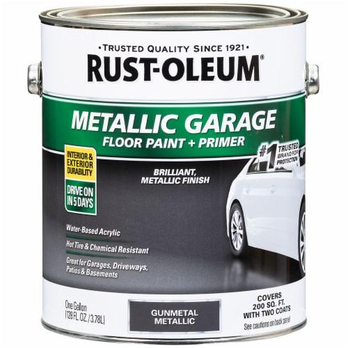 Rust-Oleum 349353 Metallic Garage Floor Paint + Primer Gunmetal gal Perspective: front