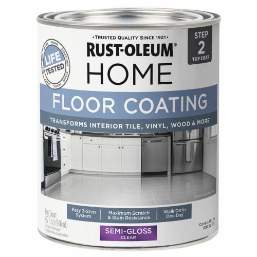 Rust-Oleum 358870 Floor Coating Top Coat Semi-Gloss Clear Quart Perspective: front