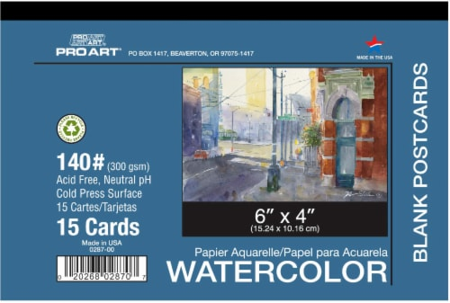 Pro Art 140 lb Cold Press Blank Watercolor Postcard - 15 Sheets - White Perspective: front