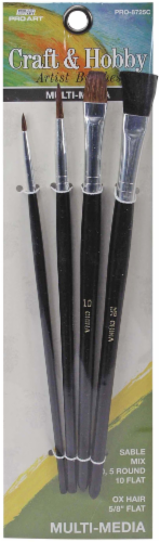 Pro Art Craft and Hobby Artist Brushes - 4 Piece Perspective: front