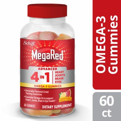 Schiff MegaRed Advanced 4-in-1 Watermelon & Orange Omega-3 Gummies Perspective: front