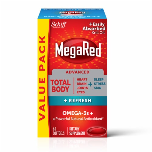 Shiff MegaRed Advanced Total Body Refresh Omega-3s Softgels Perspective: front
