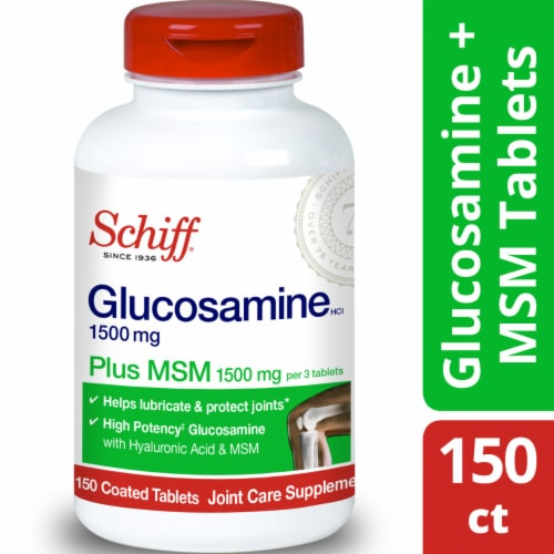 Schiff Glucosamine 1500 mg Plus MSM 1500 mg Joint Care Coated Tablets Perspective: front