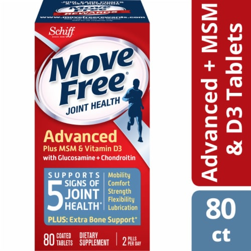Move Free Advanced Plus MSM and Vitamin D3 Joint Health Supplement Tablets Perspective: front