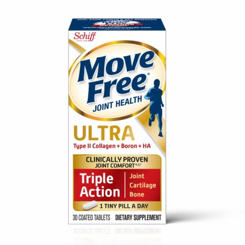 Move Free Ultra Triple Action Joint Cartilage & Bone Supplement Coated Tablets 30 Count Perspective: front
