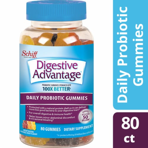 Digestive Advantage Daily Probiotic Natrual Fruit Flavor Digestive Health Gummies 80 Count Perspective: front