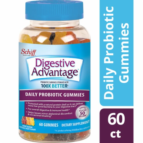 Digestive Advantage Daily Probiotic Natural Fruit Flavor Gummies 60 Count Perspective: front