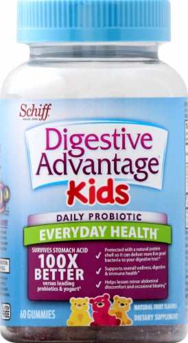 Schiff Digestive Advantage Kids Daily Probiotic Fruit Flavored Gummies 60 Count Perspective: front