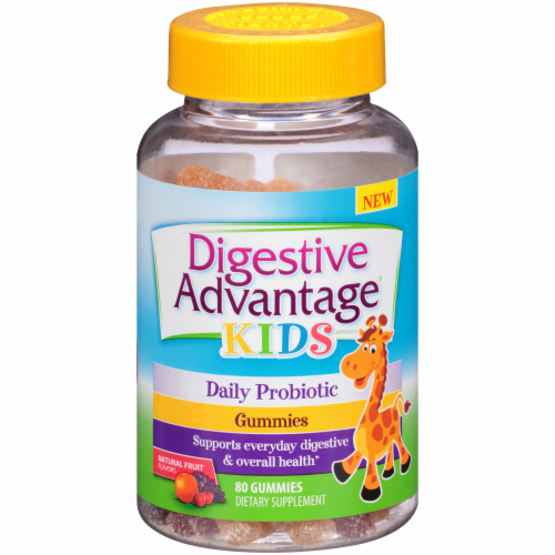 Schiff Digestive Advantage Kids Daily Probiotic Fruit Flavored Gummies 80 Count Perspective: front