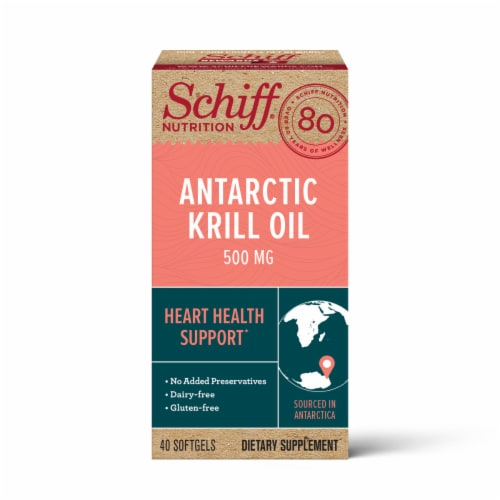 Schiff Antarctic Krill Oil Softgels 500mg 40 Count Perspective: front