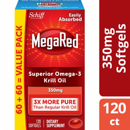 Schiff MegaRed Superior Omega-3 Krill Oil Dietary Supplement Softgels 350mg Perspective: front