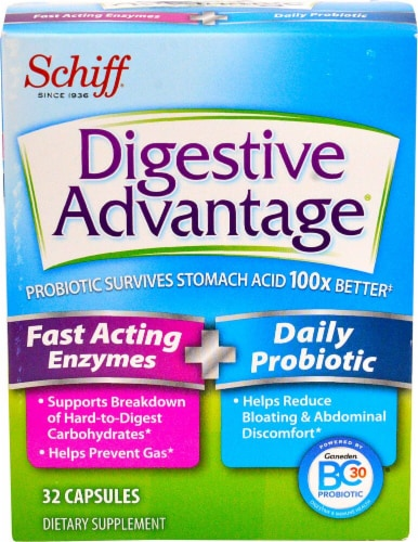 Schiff Digestive Advantage Fast Acting Enzymes & Daily Probiotic Capsules Perspective: front