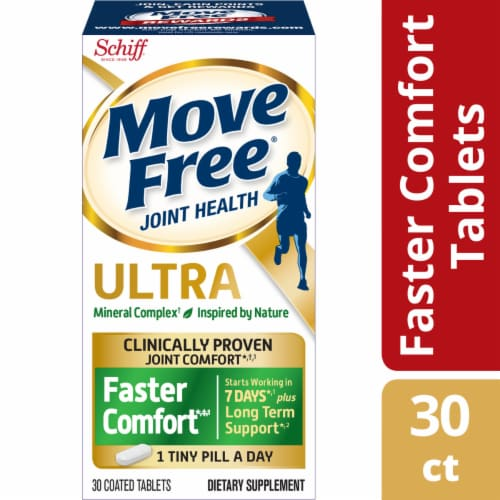 Move Free Ultra Faster Comfort Joint Health Supplement with Calcium Fructoborate Tablets Perspective: front