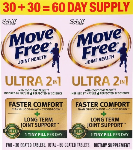 Schiff Move Free Ultra 2-In-1 Joint Health with ComfortMax Coated Tablets Perspective: front