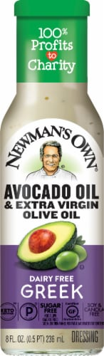 Newman's Own Dairy-Free Avocado Oil & Extra Virgin Olive Oil Greek Dressing Perspective: front