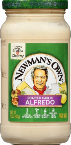 Newman's Own Roasted Garlic Alfredo Sauce Perspective: front