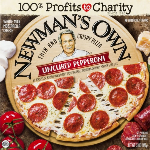Newman's Own Thin and Crispy Uncured Pepperoni Pizza Perspective: front