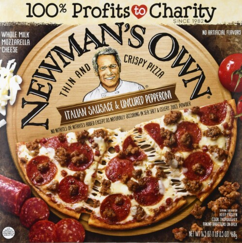 Newman's Own Italian Sausage & Uncured Pepperoni Thin & Crispy Pizza Perspective: front