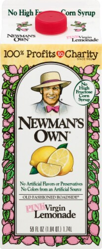 Newman's Own Pink Virgin Lemonade Juice Drink Perspective: front