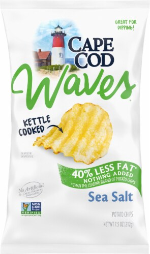 Cape Cod Waves Reduced Fat Sea Salt Kettle Cooked Potato Chips Perspective: front