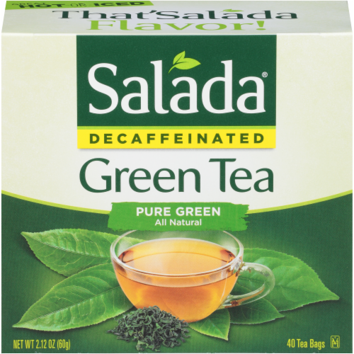 Salada Decaffeinated Pure Green Tea Bags Perspective: front