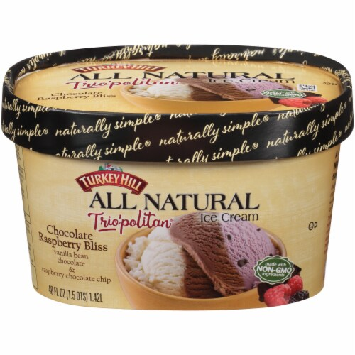 Turkey Hill® Trio'politan All Natural Chocolate Raspberry Bliss Ice Cream Perspective: front