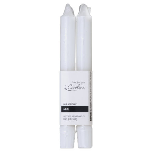 Carolina® Candle Company Heritage Tapered Candles - 2 pk - White Perspective: front
