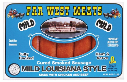 Far West Meats Mild Louisiana Smoked Sausage Perspective: front