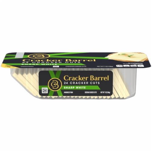 Cracker Barrel Sharp White Cheddar Cheese Cracker Cuts Perspective: front