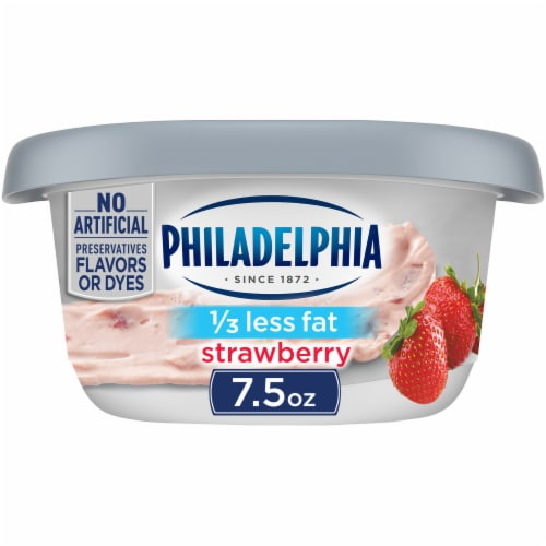 Philadelphia Strawberry 1/3 Less Fat Cream Cheese Perspective: front