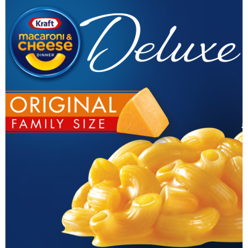 Kraft Original Cheddar Macaroni & Cheese Deluxe Family Size Perspective: front