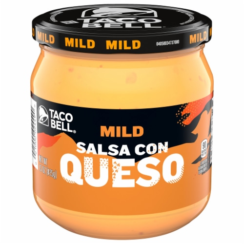 Taco Bell Mild Salsa Con Queso Cheese Dip Perspective: front
